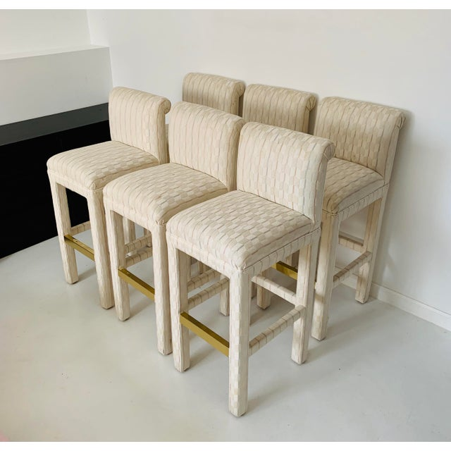 Set of 6 Vintage Parsons Bar Stools, circa 1980's in excellent condition. Reasonable offer will be considered. Local...