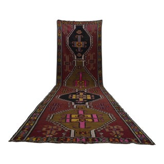 Vintage Turkish Handmade Wide Long Runner Kilim Rug - 4′8″ × 18′10″
