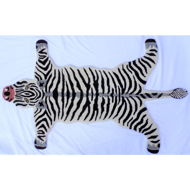 Textile 1990s Vintage Zebra Style Persian Rug - 3x5 Feet For Sale - Image 7 of 8