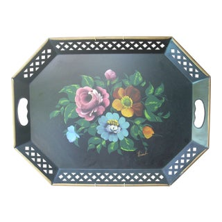 Vintage Hand Painted Octagonal Tole Tray For Sale