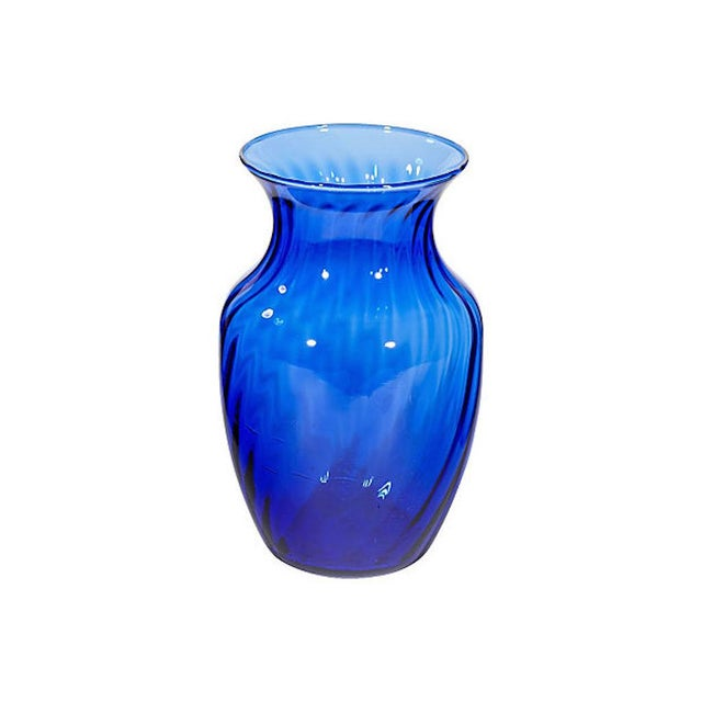 Cobalt Swirl Glass Vase Chairish