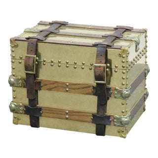 Diminutive Brass and Oak Trunk For Sale