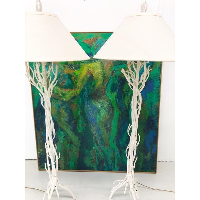 Boho Chic Faux Bois Metal Floor Lamps - a Pair For Sale - Image 3 of 12