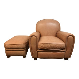 Bernhardt Leather Club Chair and Ottoman For Sale