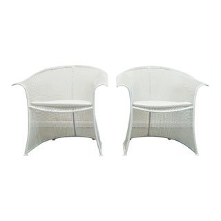 "Mid Century Modern Woodard White Steel Mesh ""Aerie"" Outdoor Barrel Lounge Chairs- A Pair For Sale"