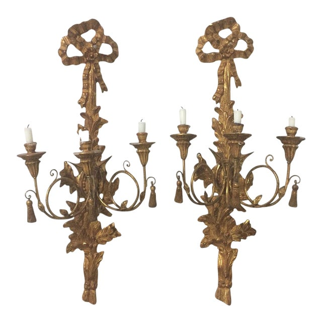 Antique Italian Gold Gilt Candle Sconces - A Pair For Sale