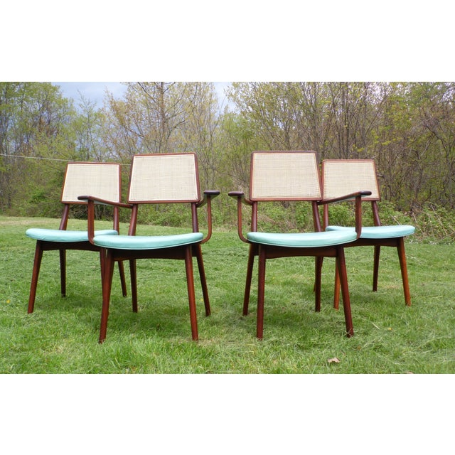 Mid-Century Modern Walnut & Cane Dining Chairs - Set of 4 For Sale - Image 10 of 11