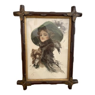 """Late 19th Century """"Well Protected"""" Tramp Art Butterfly Frame With Harrison Fisher Print For Sale"""