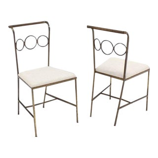 Rare Brass Dining Side Chairs in Style of Jean Royère - Set of 6 For Sale