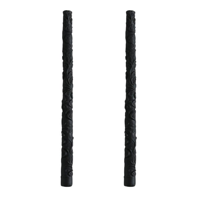 Flora Taper Beeswax Candles in Charcoal - a Pair For Sale