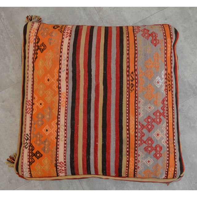 Turkish Hand Woven Floor Cushion Cover - 29″ X 29″ For Sale - Image 6 of 10