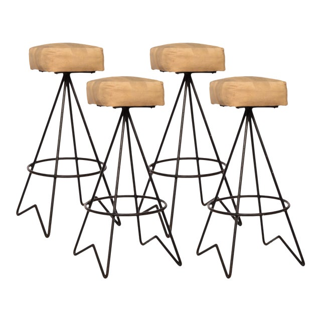 Mid-Century Hairpin Leg Bar Stools - Set of 4 - Image 1 of 2