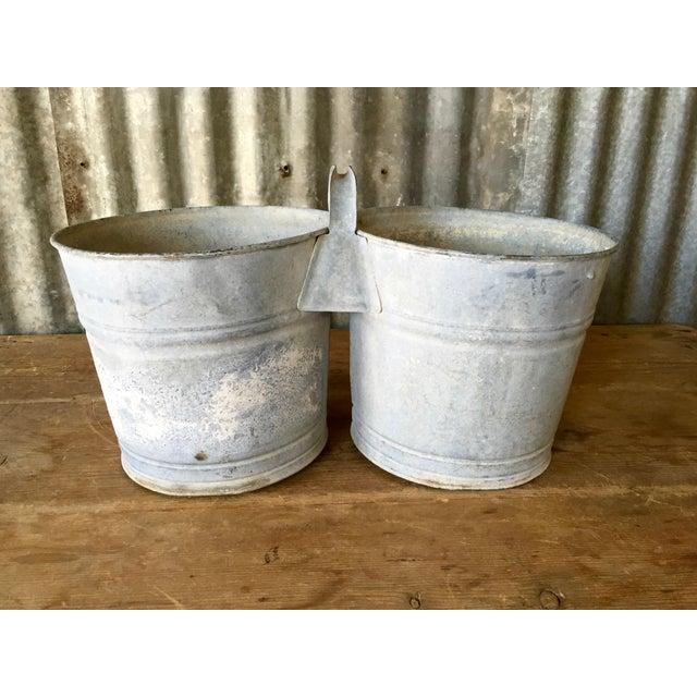 Vintage Galvanized Double Bucket - Image 2 of 11