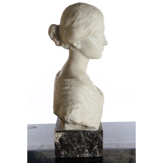 White Antique Italian Marble Bust of a Female For Sale - Image 8 of 11