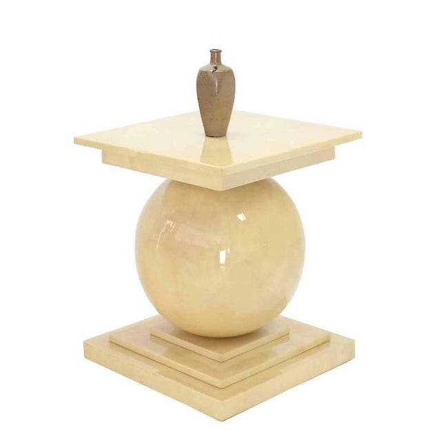 Mid-Century Modern Vintage Mid Century Lacquered Parchment Pedestal Table Base For Sale - Image 3 of 8