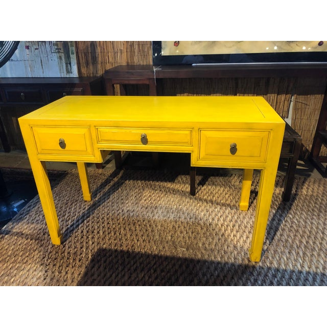 Wood Ming Style Yellow Writing Desk For Sale - Image 7 of 7