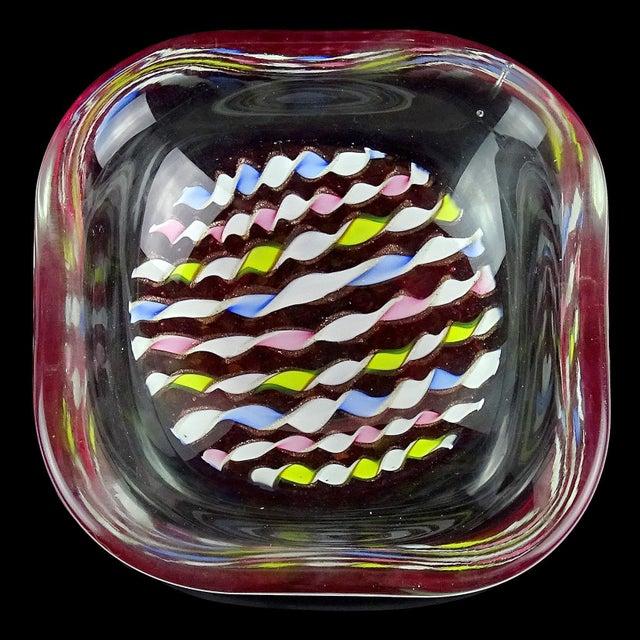 Murano Murano Italian Pink Yellow Blue White Aventurine Flecks Ribbons Art Glass Bowl For Sale - Image 4 of 8