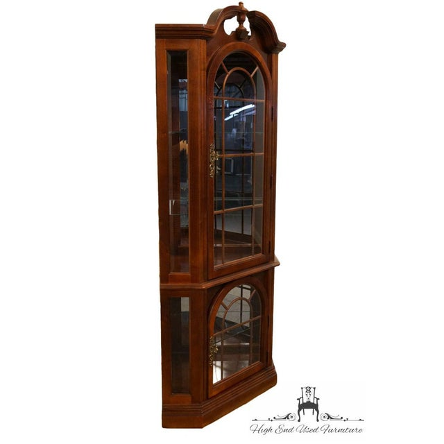 Pulaski Furniture Cherry Illuminated Corner Display Curio Cabinet 422 Dimensions: 72.5″ High Wall Sides: 24.25″ Wide...