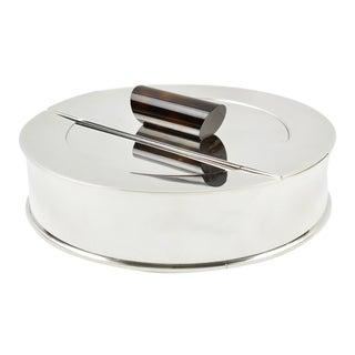 Puiforcat France Art Deco Silver Plate Decorative Box With Enamel Handle For Sale