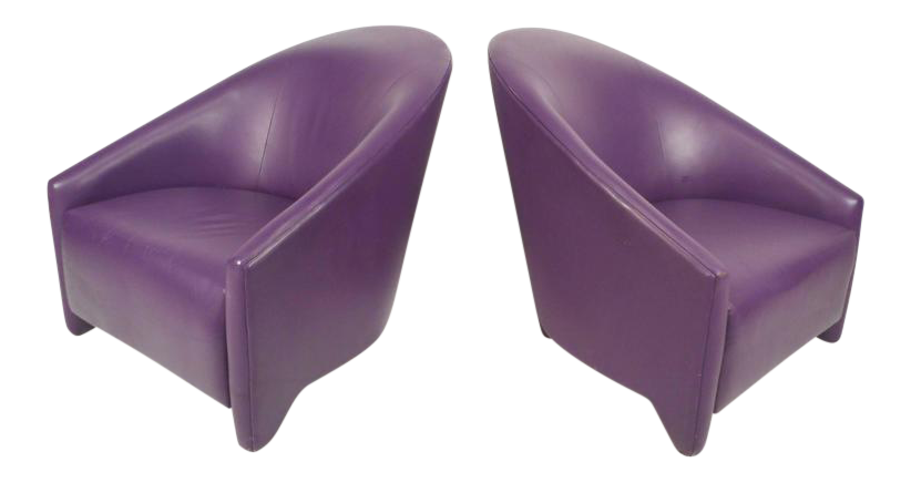 Mid Century Modern Purple Vinyl Lounge Chairs