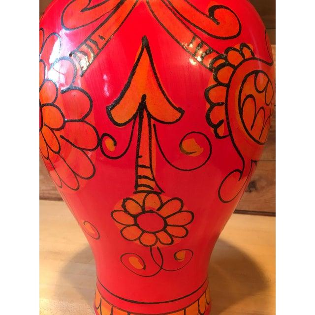 Raymor Bellini for Raymor Red Pottery Floor Vase For Sale - Image 4 of 7