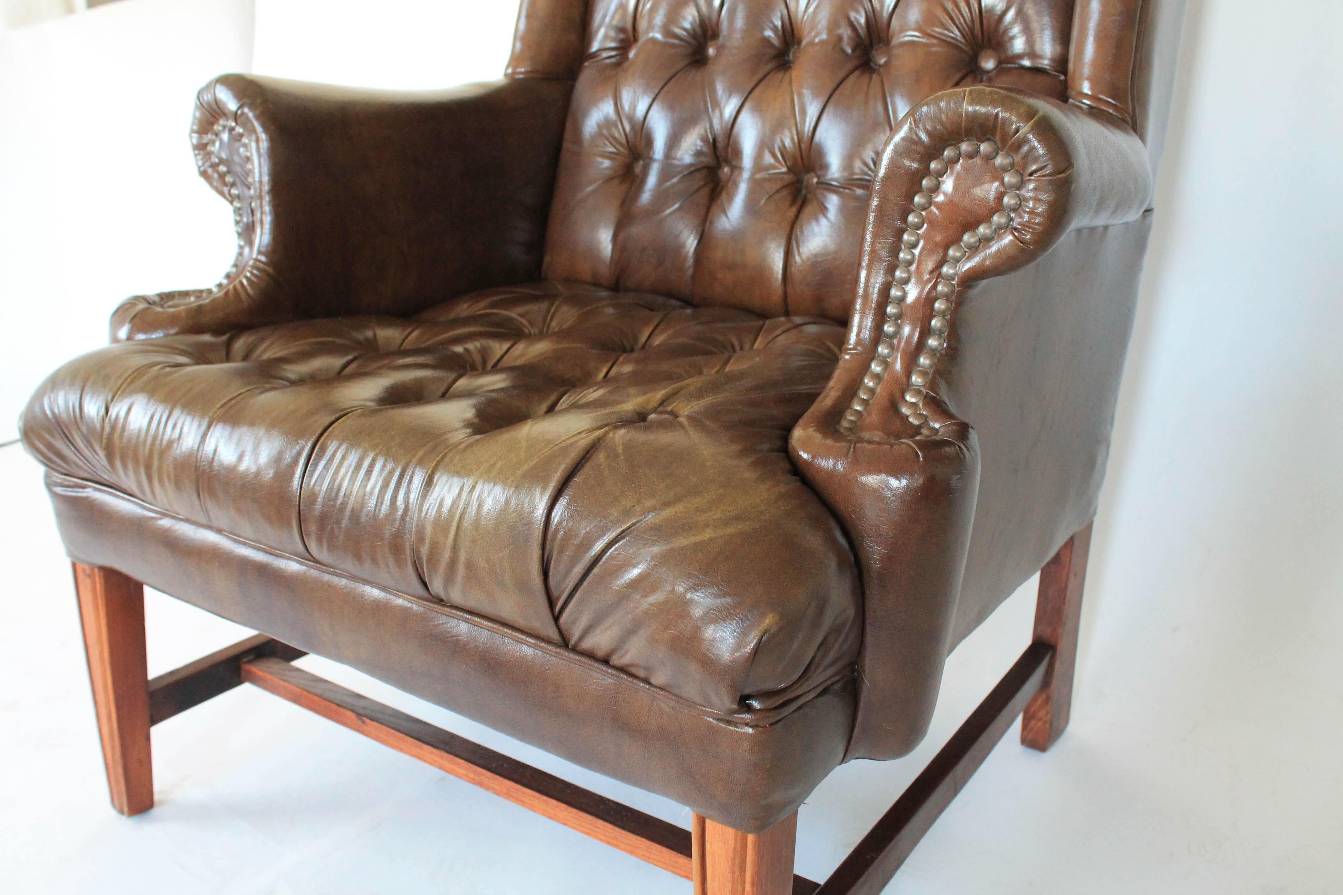 Brown Leather Wingback Chair For Sale In Milwaukee   Image 6 Of 11