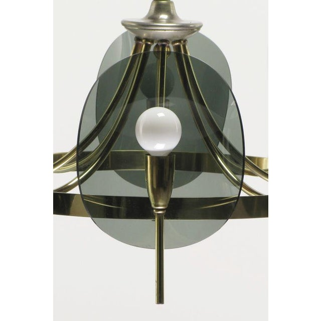Brass & Smoked Acrylic Eight Arm Chandelier For Sale In Chicago - Image 6 of 7