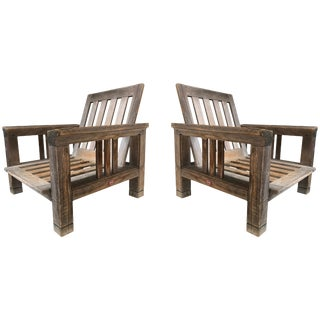Pair of Vintage Solid Teak Patio Lounge Chairs by Terra Furniture For Sale
