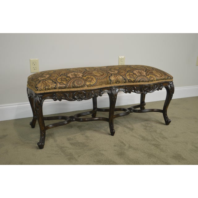 Walnut French Louis XV Style Carved Walnut Window Bench For Sale - Image 7 of 12