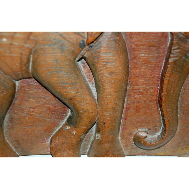 Antique Indian Elephant Relief Panel - Image 4 of 4