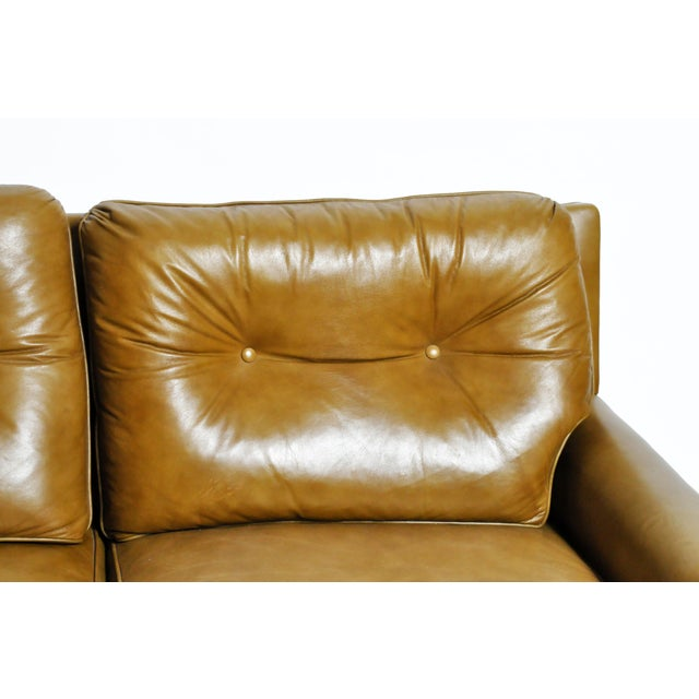 Wood Mid-Century Modern Green Leather Sofa With Hardwood Base by Edward Wormley For Sale - Image 7 of 11