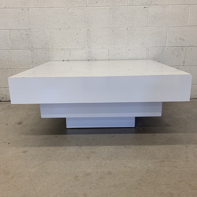 Contemporary Modern Tiered White Gloss Coffee Table For Sale - Image 10 of 10