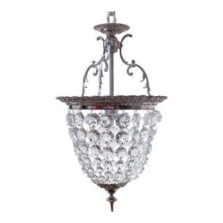 1940s Silver Crystal Basket Pendant Light For Sale