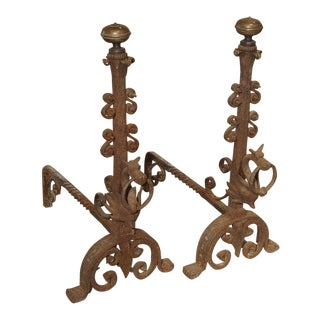 Pair of Tall Antique Forged Andirons from Antwerp Belgium, Circa 1870 For Sale