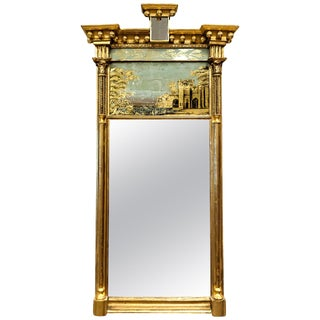 Federal Tabernacle-Form Mirror with Eglomise Panel, circa 1805, New England For Sale