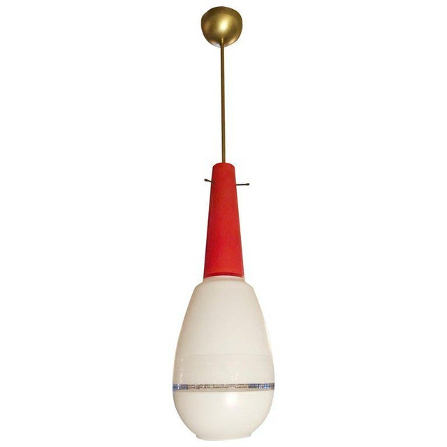 Red and White Pendant by Stilnovo For Sale In Palm Springs - Image 6 of 6