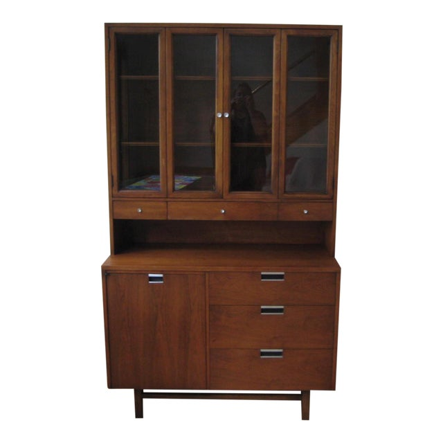 1960s Mid Century Walnut Two Piece Credenza For Sale