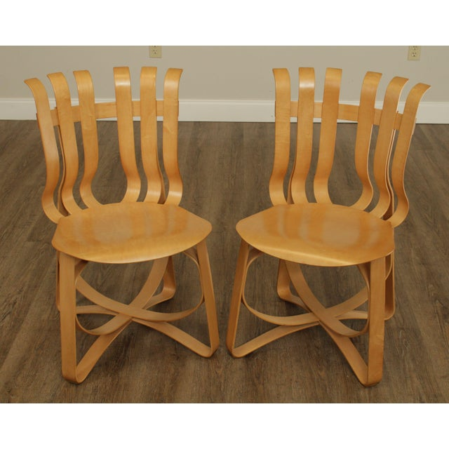 "Mid-Century Modern Frank Gehry for Knoll Bent Wood Pair ""Har Trick"" Chairs For Sale - Image 3 of 13"