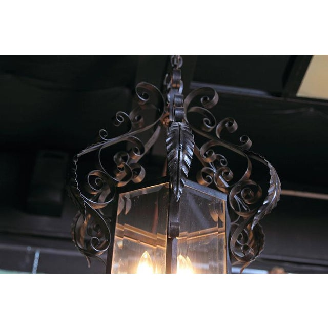 Glass Early 20th Century French Black Four-Light Iron Lantern With Beveled Glass For Sale - Image 7 of 10