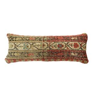 Antique Rug Fragment Skinny Lumbar Pillow For Sale