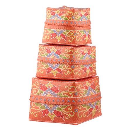 Saffron Floral Design Baskets - Set of 3 For Sale