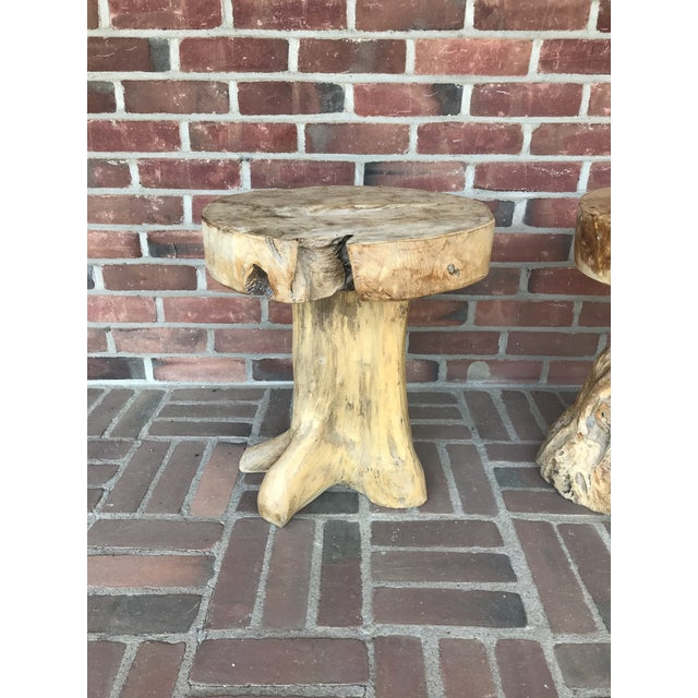 Copper Rustic Tribal Style Teak Accent Table/Stool For Sale - Image 8 of 9