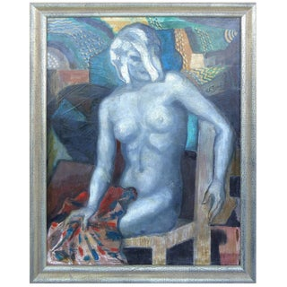 """Felix Pascual Original Oil Painting on Canvas """"Woman in Studio"""", Spain, 1930s For Sale"""