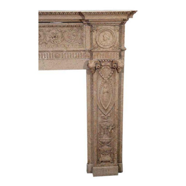 Edwardian Carved Sienna Marble Mantel - Image 3 of 3