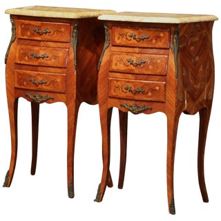 1950's Midcentury Louis XV Marquetry Bombe Nightstands With Marble Top-a Pair For Sale