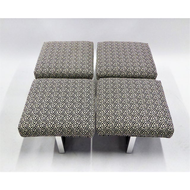 Silver Pair of 1960s Polished Aluminum Upholstered Stools Benches( Two Pairs Available) For Sale - Image 8 of 11