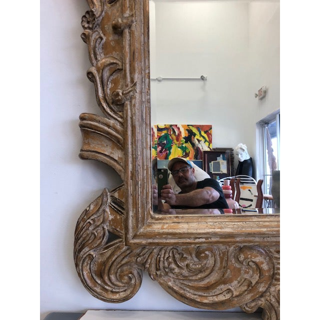 Late 20th Century Overscaled Hand Carved Wood Neoclassical Mirror For Sale - Image 10 of 13