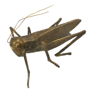 Mid-Century Gold Tone Grasshopper Figurine For Sale