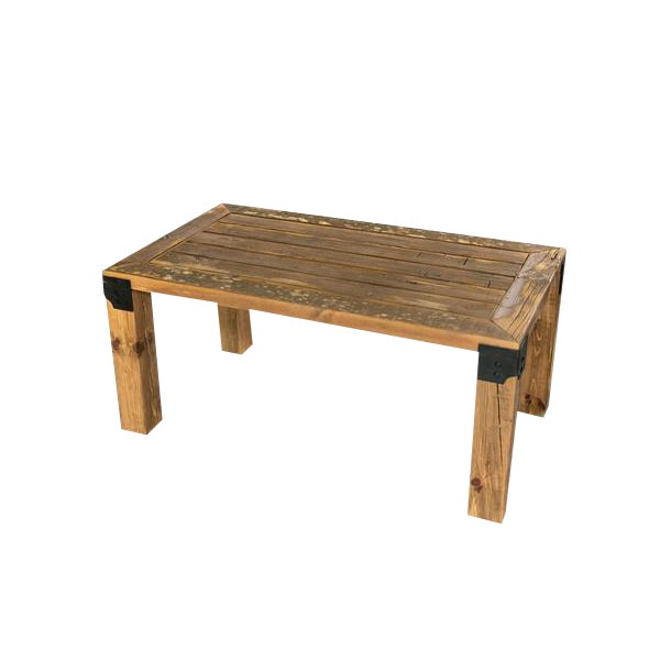 Reclaimed Handmade European Imported Industrial Wood Coffee Table by DARVO For Sale