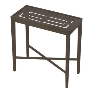 Oomph On the Rocks Rectangle Outdoor Side Table, Dark Gray For Sale